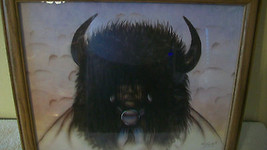 COMANCHE WARRIOR WITH BUFFALO HEAD, FRAMED PRIN... - $148.49