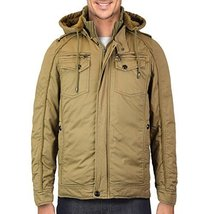 Maximos Men's Hooded Multi Pocket Sherpa Lined Sahara Bomber Jacket (XL, Khaki)