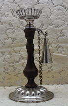 Vintage Wood and Metal Candle Holder With Attached Snuffer // Rustic Decor - $11.25