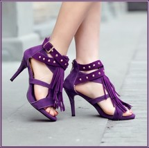 Purple Fringe Suede Leather Metal Rivet Strappy Stiletto Ankle High Heel Sandals