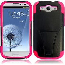 For Samsung S3 i9300 T-Stand Hybrid Cover Case - Black+Hot Pink - $6.31