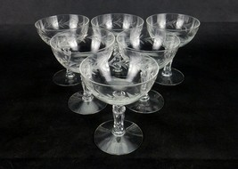 Set of 6 Champagne Glasses, Fostoria Fancy Stemware, Christmas Holly Pat... - $19.55