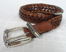 FOSSIL Genuine LEATHER Cognac BROWN Woven BRAIDED Size L WOMEN'S Belt Fi... - $20.95