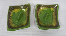 New VIntage Green Ashtrays Mixture with brown yellow 3 slot USA CALIF E-... - $24.80