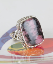 Awesome Rhodonite 925 Silver Gemstone Ring Handmade Woman Jewelry BJR-12... - $20.99