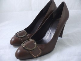Stuart Weitzman Ladies Brown Leather Heels with Buckle Size 8.5 N - $18.68