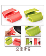 Heatproof Silicone Heat Resistance pan handle holder  2 pairs pink green  - $10.99