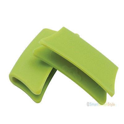 Heatproof Silicone Heat Resistance pan handle holder  2 pairs pink green