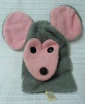 Vintage ANIMAL FAIR 1973 Gray Mouse Big Pink ears Hand Puppet - moth hol... - $28.50