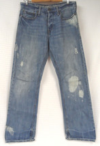 AMERICAN EAGLE Bootcut BLUE Denim JEANS Men 30x32 Bleach DESTROYED Distr... - $28.95