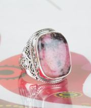 Awesome Rhodonite 925 Silver Gemstone Ring Hand... - $18.99