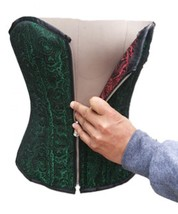 Green Red Reversible Brocade Gothic waist cincher PLUS SIZE Overbust cor... - $99.52