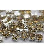 6mm SS30 Lt.Topaz Sew on Diamante Rhinestone Rose Montee Beads - 25 Pieces - $4.31