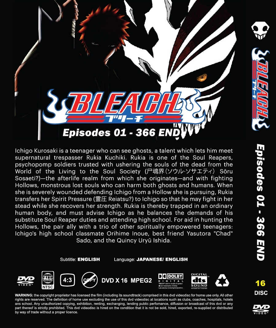 DVD BLEACH COMPLETE COLLECTION (EPS 1- 366 END) 2 BOX SET ~ ENGLISH VERSION & SU