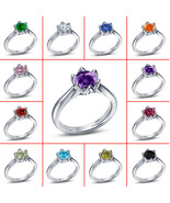 0.70 CT Round Cut Multi Color Sim Diamond Engagement Ring 18k White Gold... - £27.06 GBP+