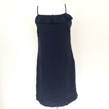 Loft Navy Linen Ruffle Shift Sundress Size 4 - $23.36