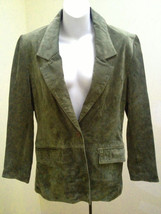 Lew Magram Collection New York Sz 4 Green Suede Leather Jacket Satin Lined - $21.55