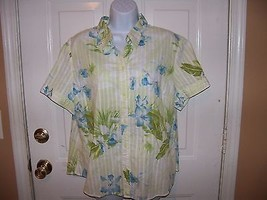 Caribbean Joe Floral Button Down Shirt Size XL Women's EUC - $29.99