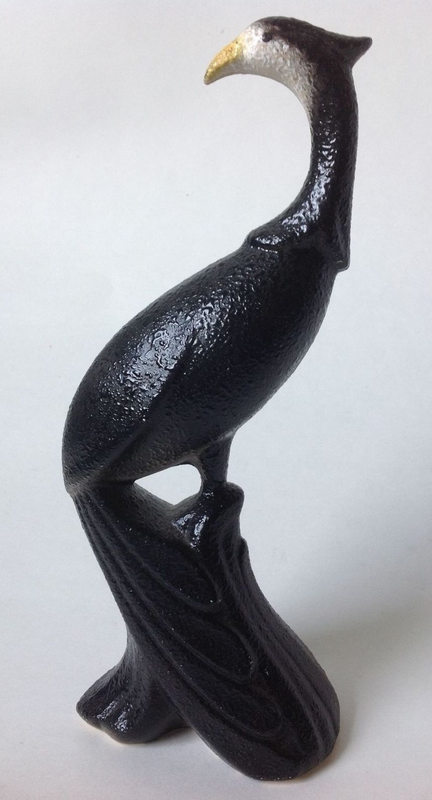 "Vintage Black Peacock Bird Figurine Mid Century Modern Textured Pottery 11"""
