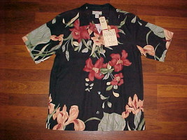 Tommy Bahama TW3340 Enchanted Garden Women's Black Silk Floral Camp Shir... - $89.09