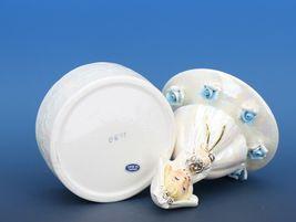"""Vintage Japanese White Pearl Lusterware Bride Trinket Box Figurine 4 3/4"""" Tall image 5"""