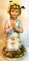 RR Roman Ceramic Figure, Farm Girl Kneeling in Prayer circa 1979