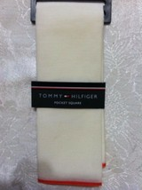 TOMMY HILFIGER MENS NEW BEIGE 70%COTTON 30%SILK POCKET SQUARE WITH ORANG... - $30.86