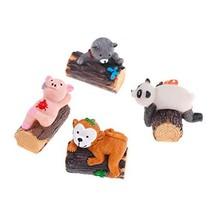 QTFHR 4 Pcs Cake Mini Garden Ornament Toy Stump Monkey Pig Panda Cat Ani... - $9.48