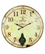 Large Hanging Wall Clock With Pendulum Cafe Des Marguerites Vintage Dist... - $46.99