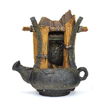 Vintage Aged Teapot Chain Wood Indoor Tabletop Water Fountain LED Light - $23.71
