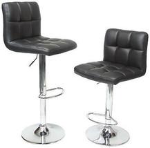 2 Roundhill Swivel Black Leather Adjustable Hydraulic Bar Stools Home Se... - £102.68 GBP