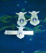 Air Force Cufflinks Vintage headquarter Command Tie clip original Box  Military  - $145.00