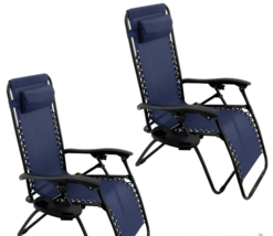 Zero Gravity Chair Recliner Patio Pool Chair Cup Holder Utility Tray(2 P... - $109.99