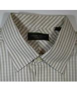 JOSEPH ABBOUD Lg Rich Light Brown Beige Gingham Checks Plaid Dress Shirt  - $99.99
