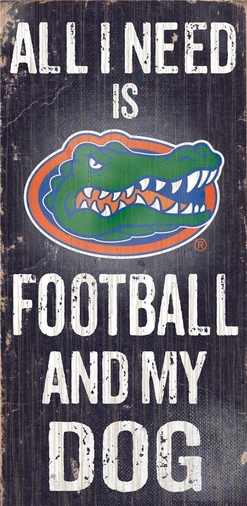 "FLORIDA GATORS FOOTBALL & my DOG WOOD SIGN & ROPE 12"" X 6""  MAN CAVE!"