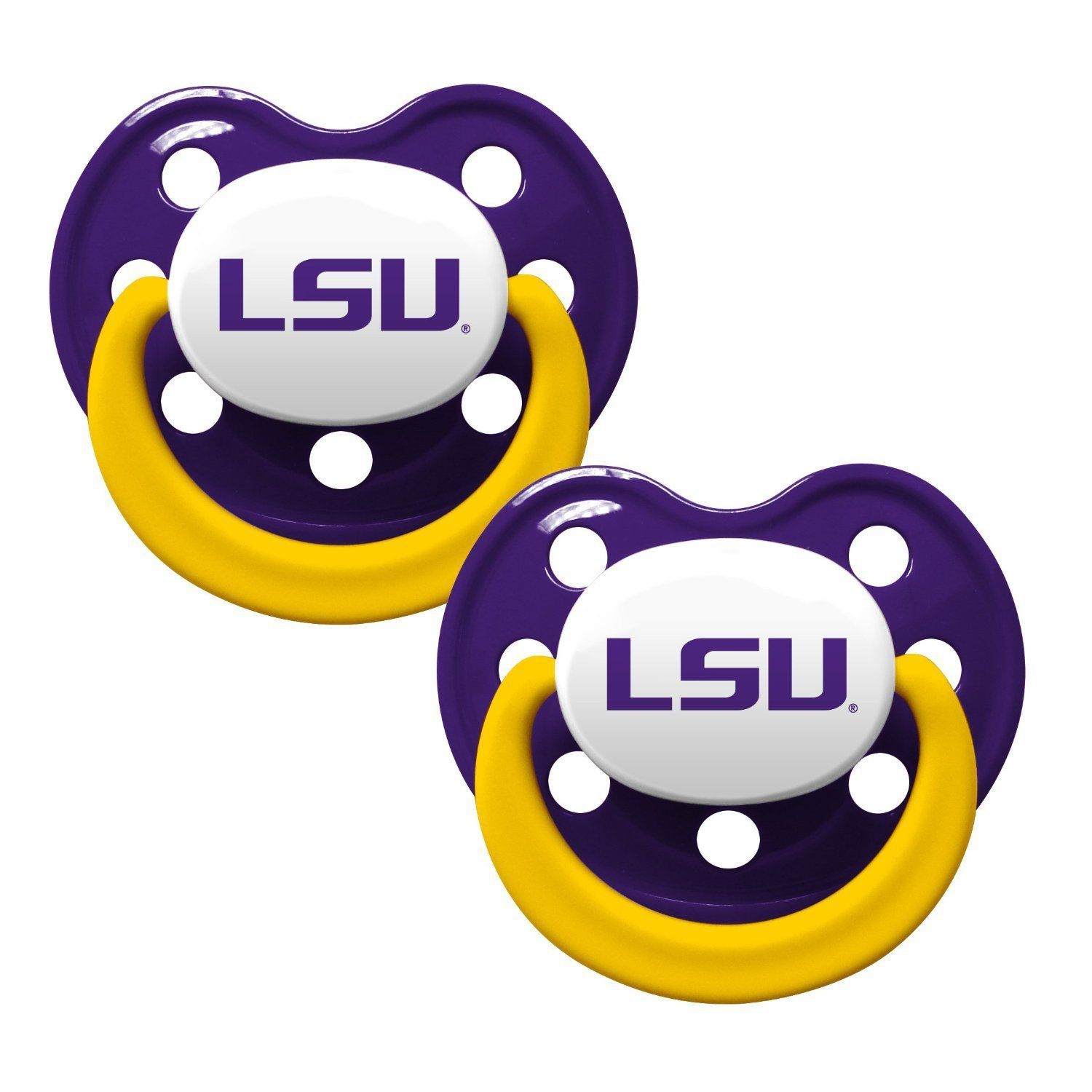 LSU TIGERS 2-PACK BABY INFANT ORTHODONTIC PACIFIER SET NCAA