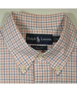 POLO RALPH LAUREN M 15.5  Rich Orange Navy White  Checks Plaid Dress Shirt  - $99.99