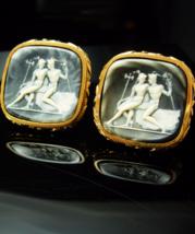 HUGE Mythology Cufflinks Hermes & Aphrodite Gold Vintage Original box Mythical S - $225.00