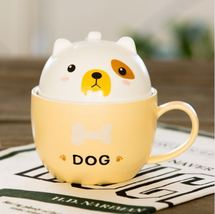 Cute Yellow Dog Mug with Cover Ceramic Coffee Milk Tea Mug - $42.72