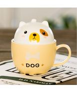 Cute Yellow Dog Mug with Cover Ceramic Coffee Milk Tea Mug - $42.72