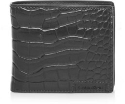 New Calvin Klein Ck Men's Leather Wallet Id Billfold With Coin Case Black 79600 image 1