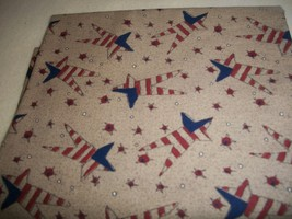 Stars & Stripes Tan Cotton Fabric - $20.00