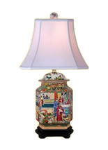 "Oriental Chinese Porcelain Rose Canton Hexagonal Temple Jar Table Lamp 25"" - $227.69"