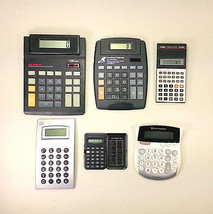 Lot of 6 Working Calculators: Casio, Texas Instruments,  Big Display, Mo... - $14.99