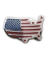 Men Women Silver Metal Western Belt Buckle United States America Flag Co... - $23.14 CAD