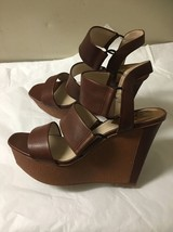 WOMENS BROWN LEATHER WEGE VINCE CAMUTO WEDGE SANDALS SIZE 9.5 - $49.49