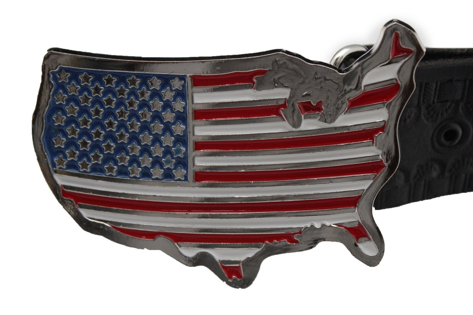 Men Women Silver Metal Western Belt Buckle United States America Flag Continent