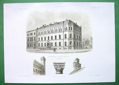 ARCHITECTURE PRINT : Germany Cologne Rectory Building of St. Pantaleon CHurch