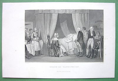 G. WASHINGTON Last Moments - 1860s Antique Print Engraving