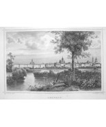 GERMANY View of Leipzig - 1860 Original Engravi... - $39.55